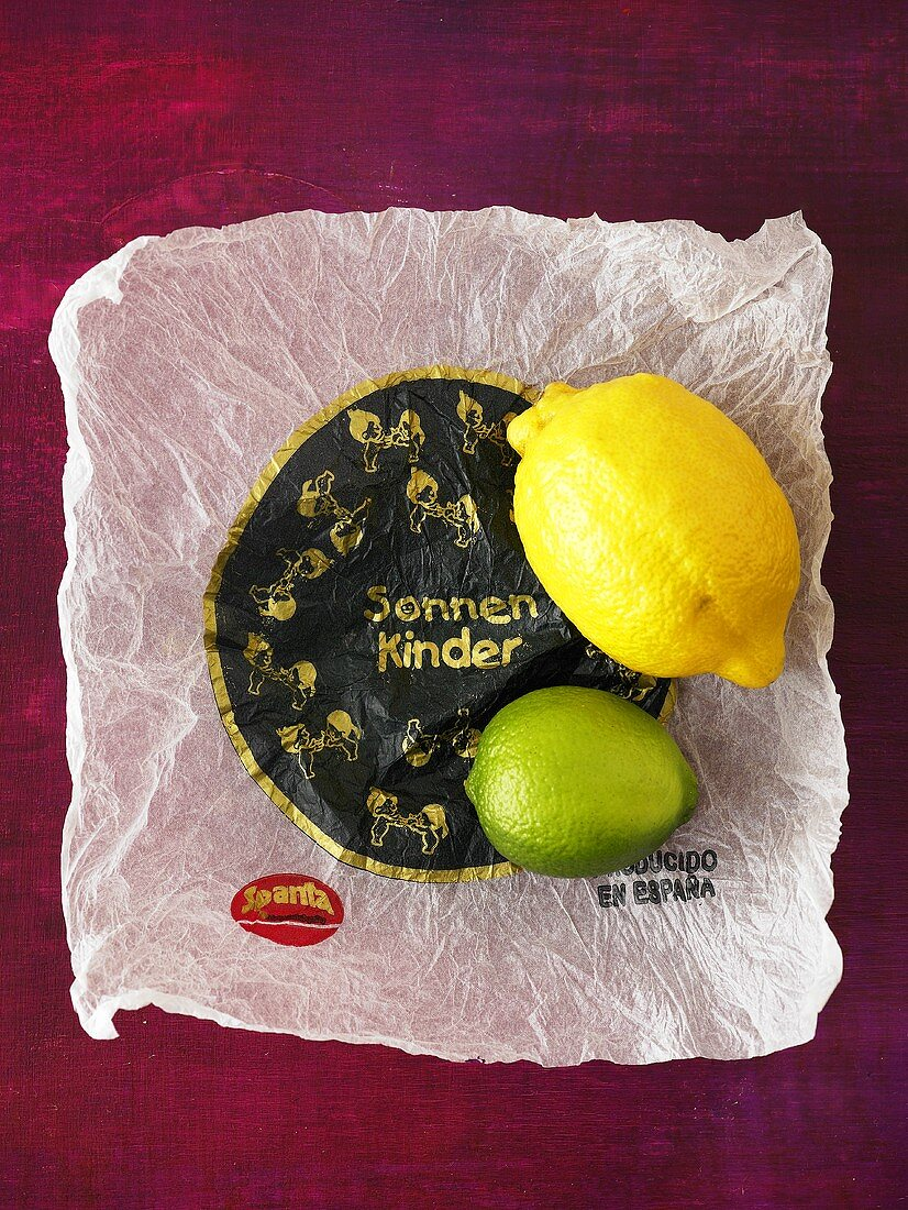 Lemon and lime on tissue paper wrapper