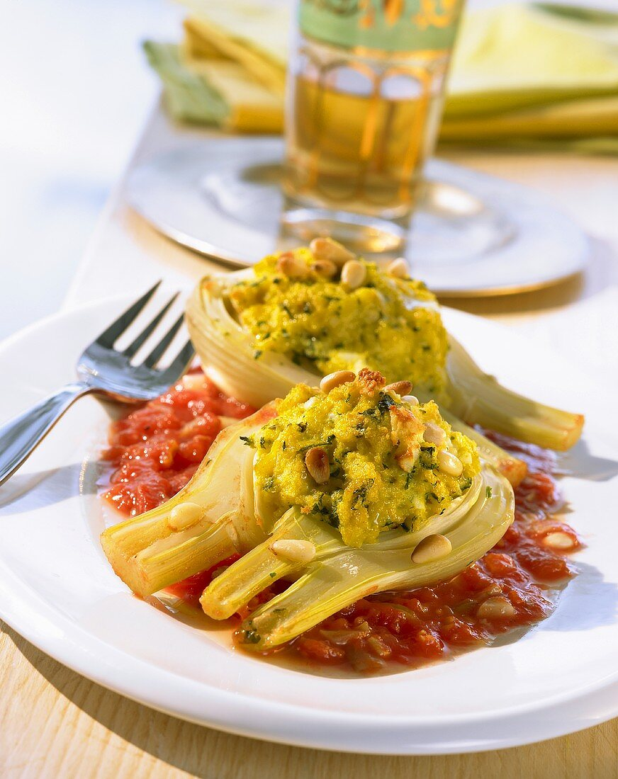 Fennel stuffed with soya granules and sheep's cheese, Tunisian style