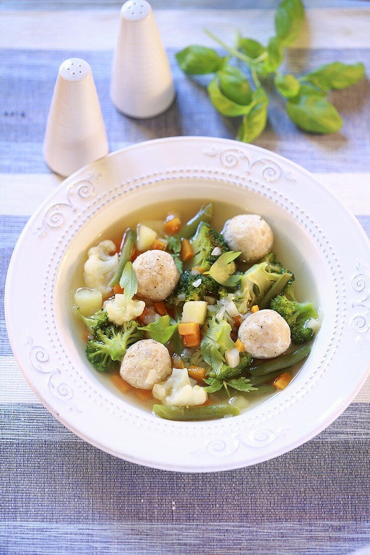 Cauliflower and broccoli soup with bone marrow dumplings