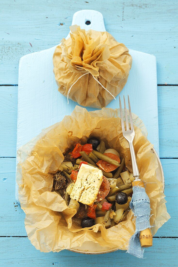 Kleftiko (Lamb with vegetables & sheep's cheese in baking parchment, Cyprus)
