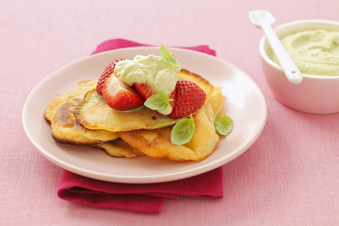 Pancakes with strawberries and basil mousse