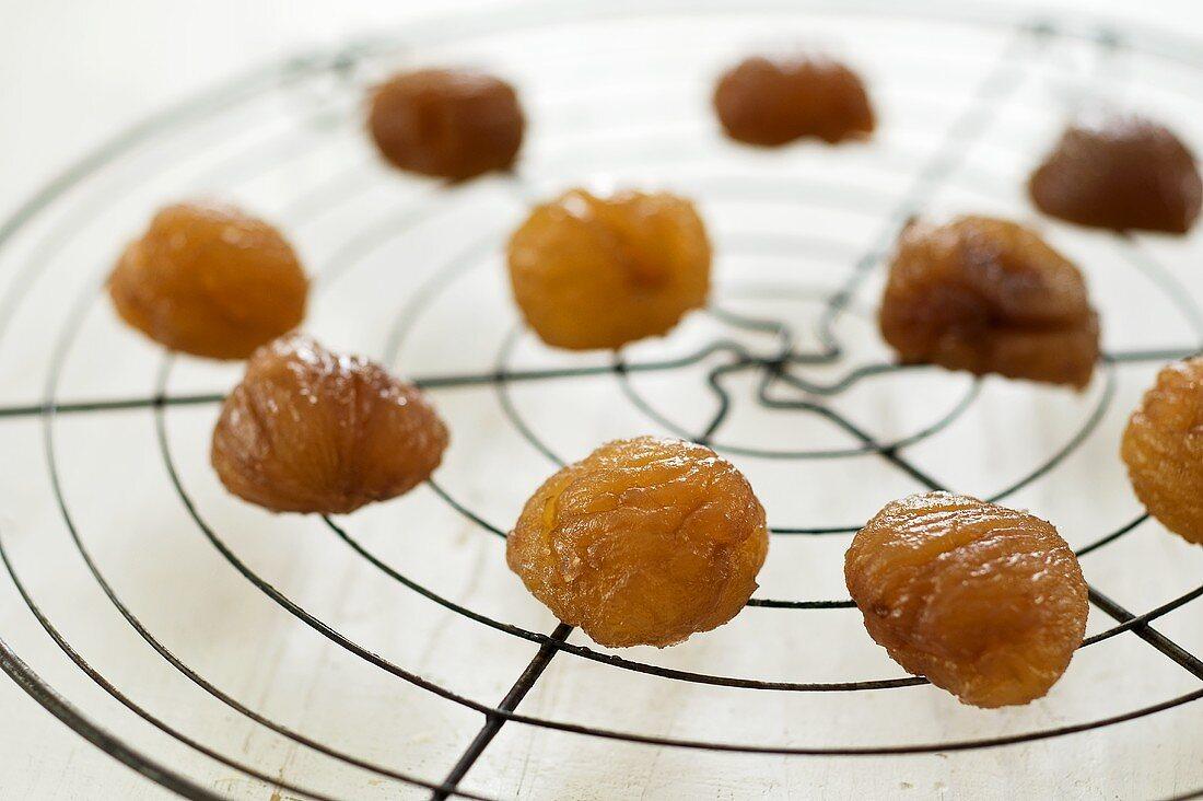 Marrons glacés on cake rack