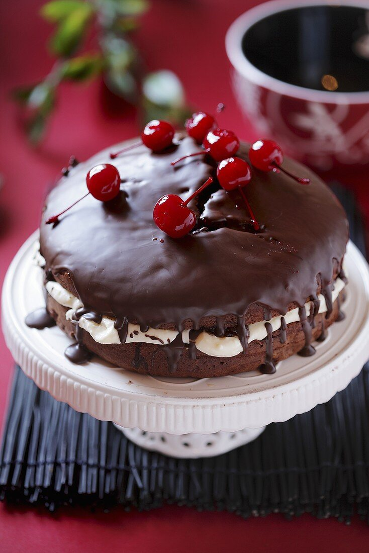 Chocolate cake with cherries on top