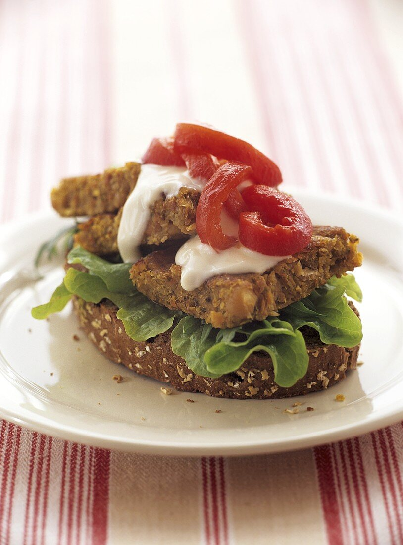 Cereal burger on wholemeal bread