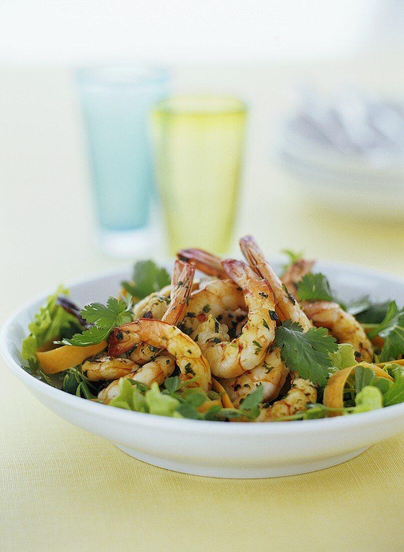 Shrimp salad with parsley