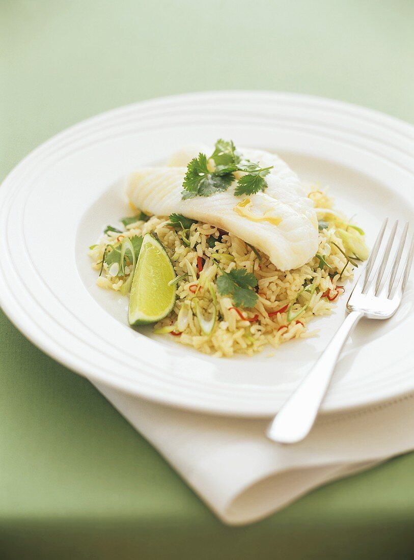 Steamed fish fillet on rice
