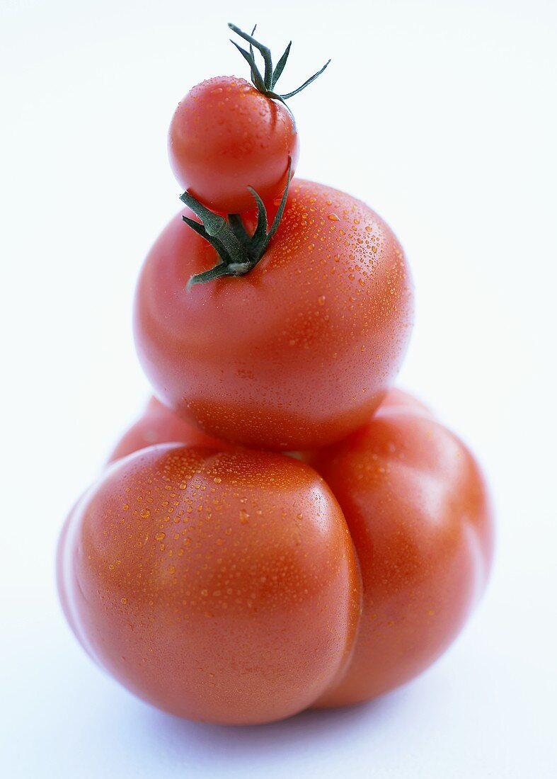 Beefsteak-, vine- and cocktail tomatoes in a pile
