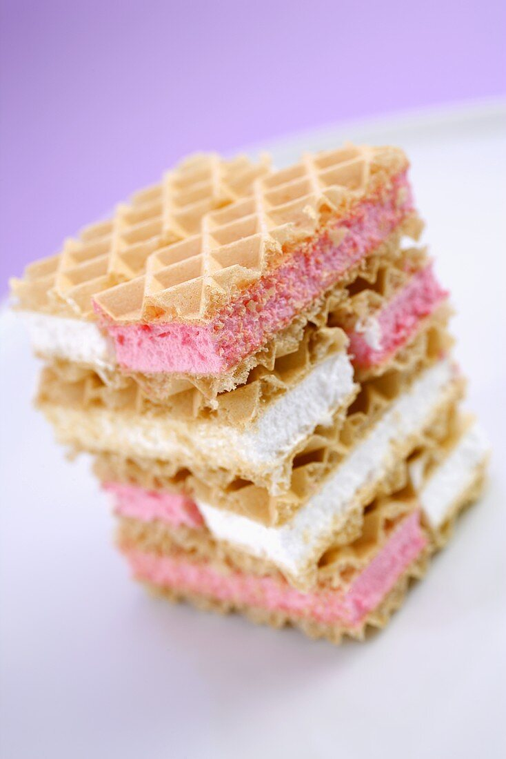 Cream-filled wafers in a pile