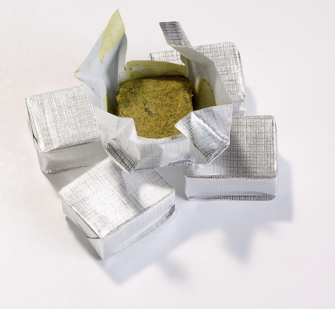 Diced beef in aluminium foil
