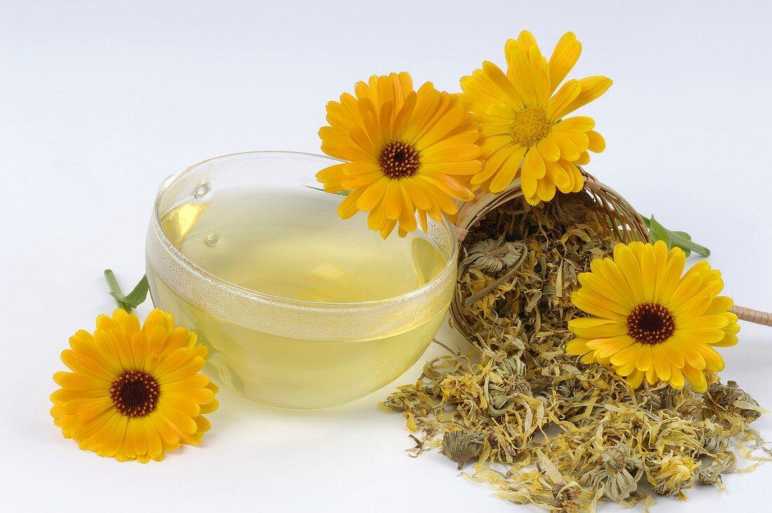 Marigold tea and fresh flowers