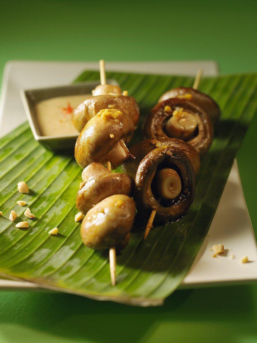 Skewered mushrooms with peanut sauce (Vietnam)