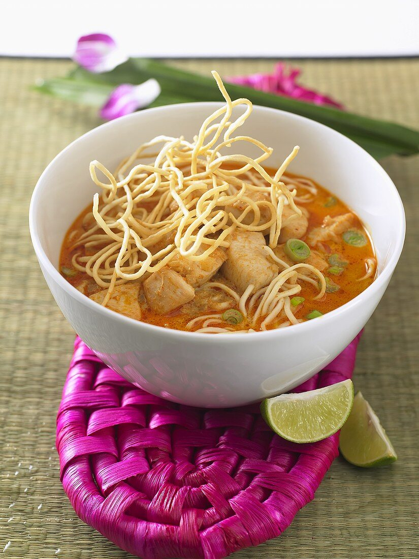 Coconut milk soup with chicken and noodles (Thailand)