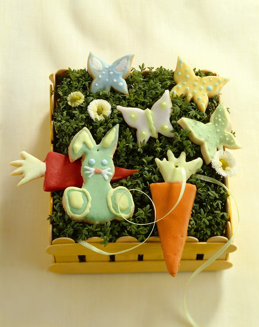 Carrot, rabbit and butterfly biscuits for Easter