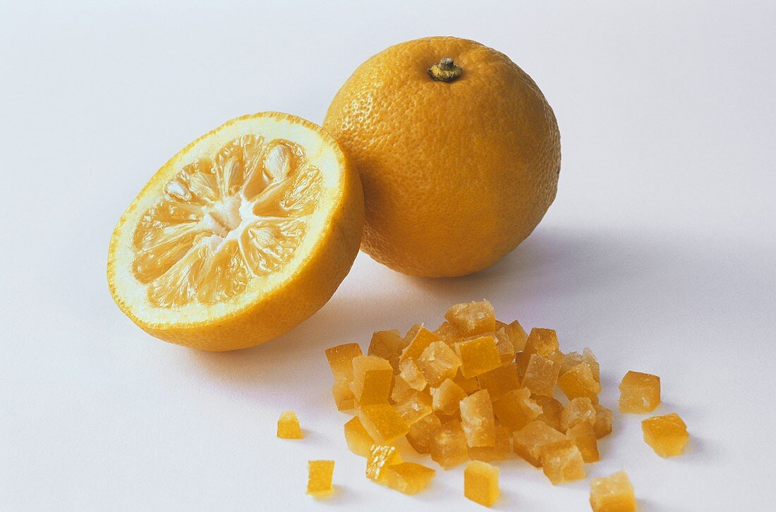 Bitter oranges and diced candied orange peel