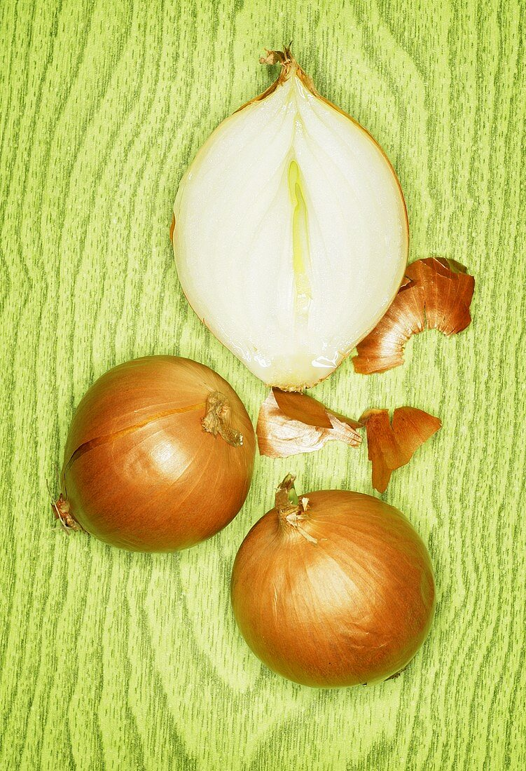Half an onion and two whole onions