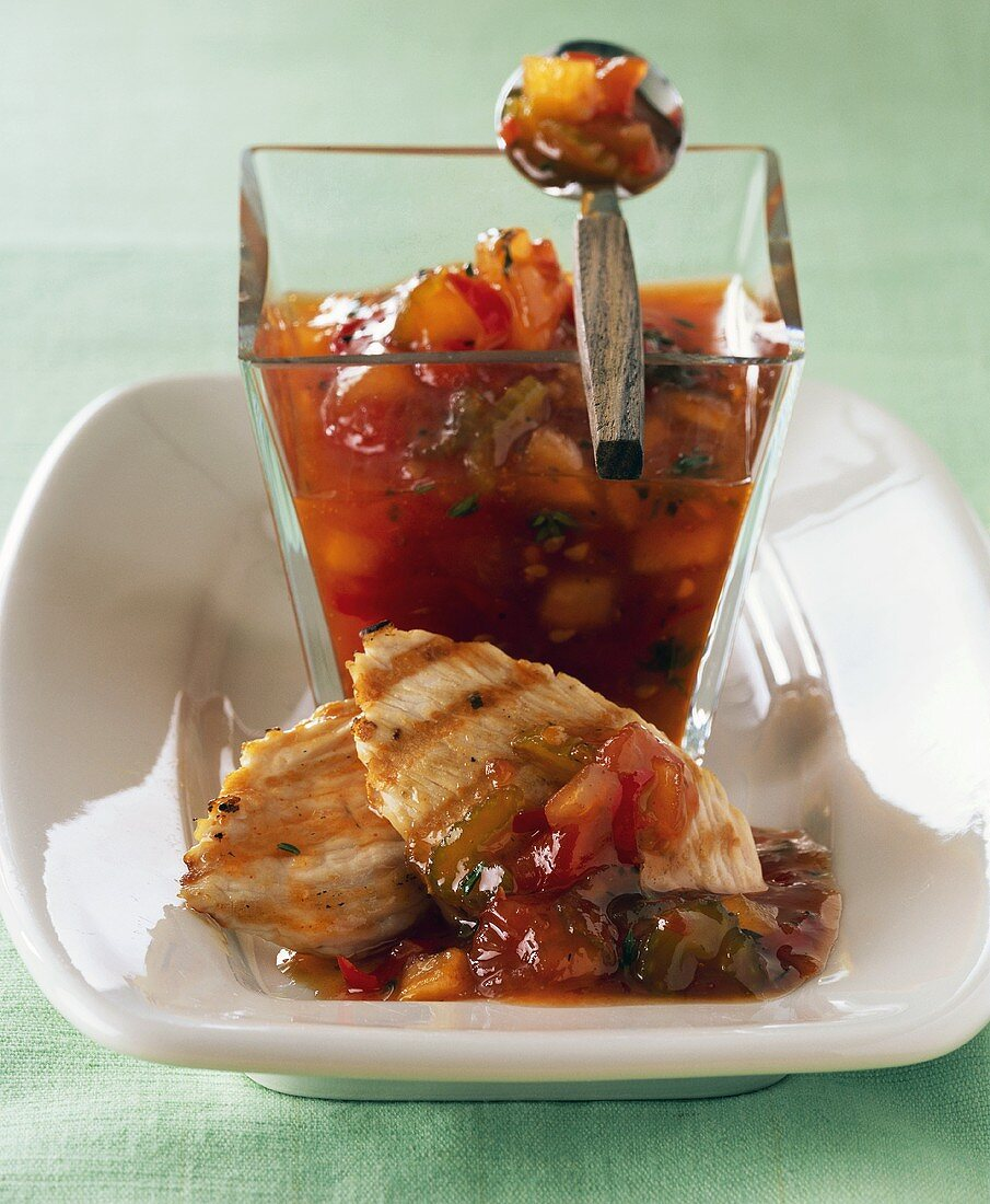 Tomato & celery relish to serve with grilled turkey fillet