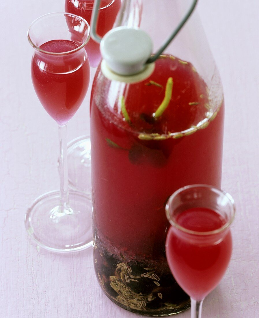 Home-made redcurrant and herb liqueur