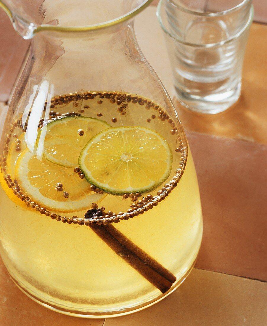 Lemon balm and mint liqueur in a carafe