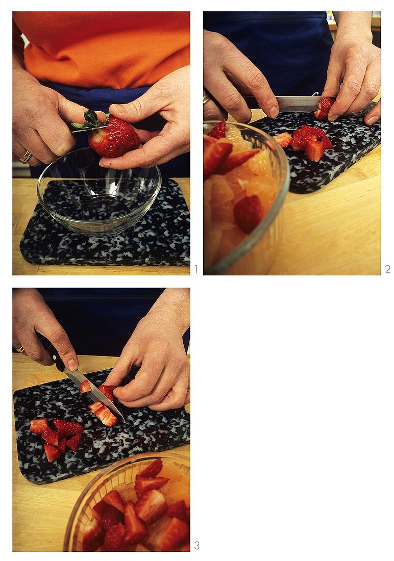 Hulling and chopping strawberries