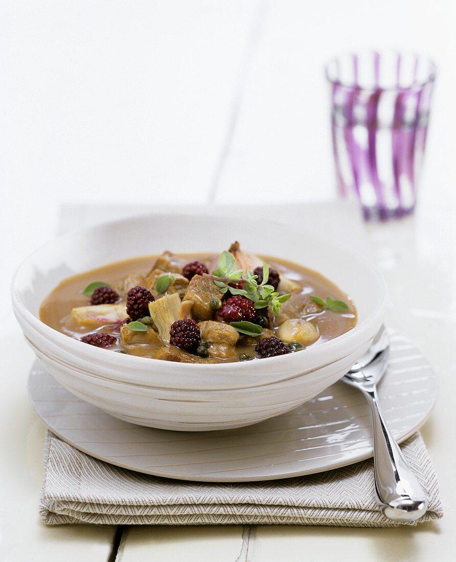 Lamb stew with Boysenberries