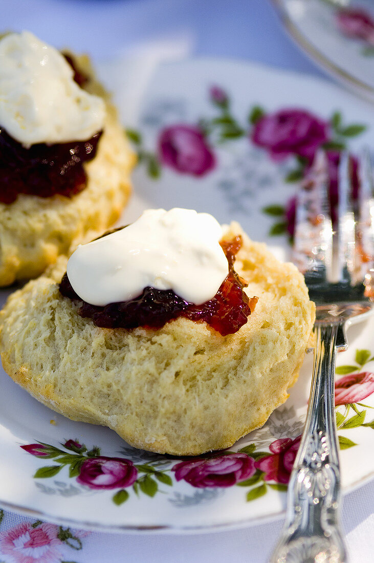 Scone with jam and clotted cream