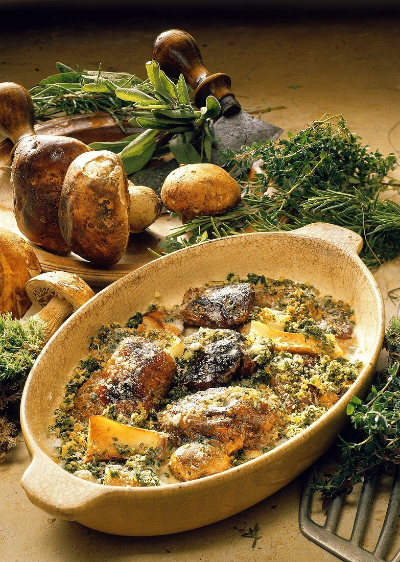 Baked Mushroom Caps with Cheese and Herbs
