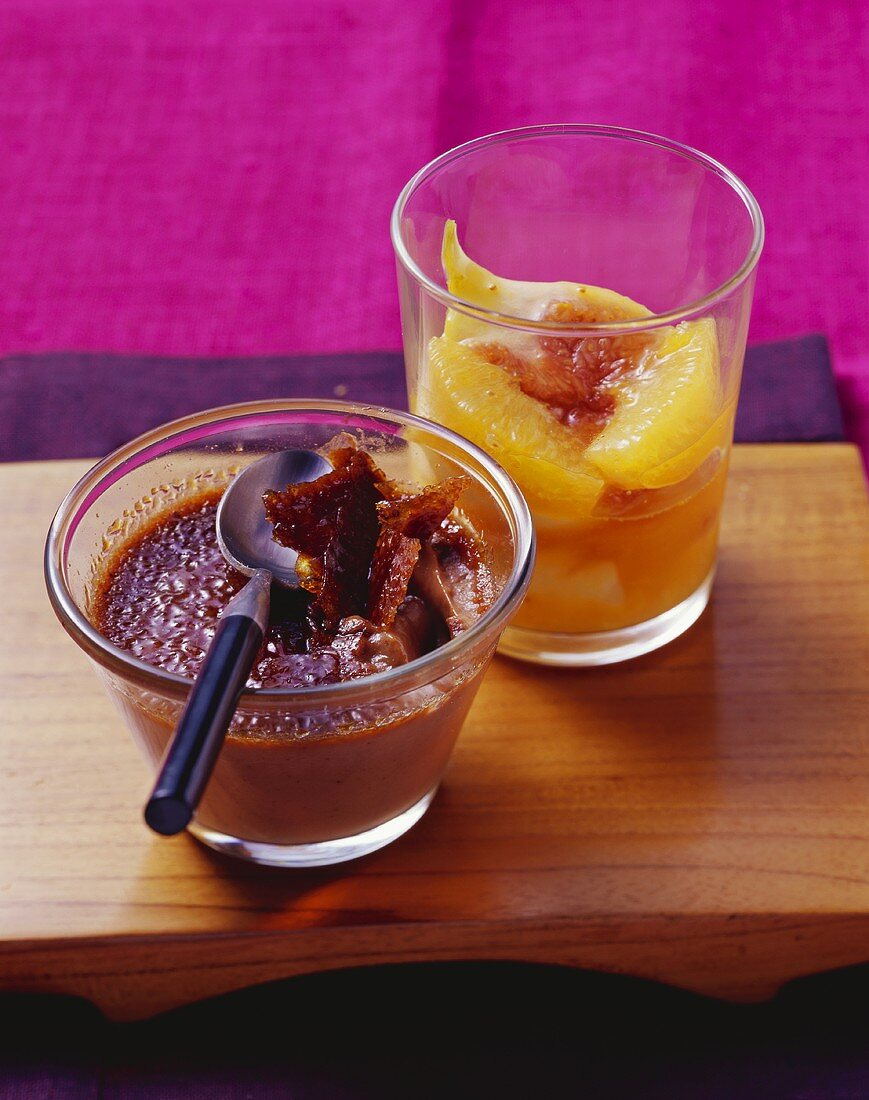 Chocolate crème brûlée with fig and orange compote