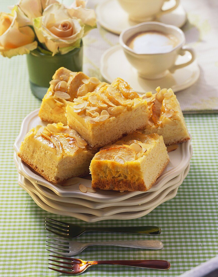 Apple cake (Yeasted cake with apple, quark & almond topping)