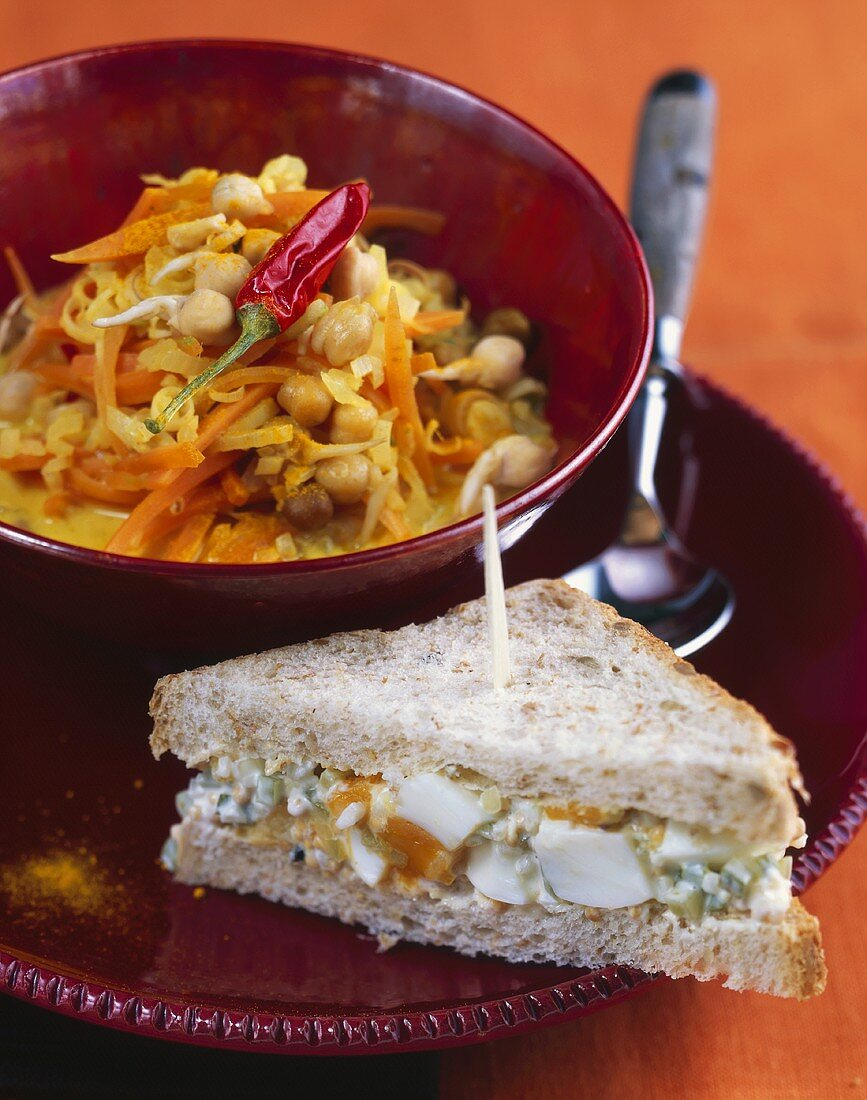 Egg and sprout sandwich and chick-pea sprout curry