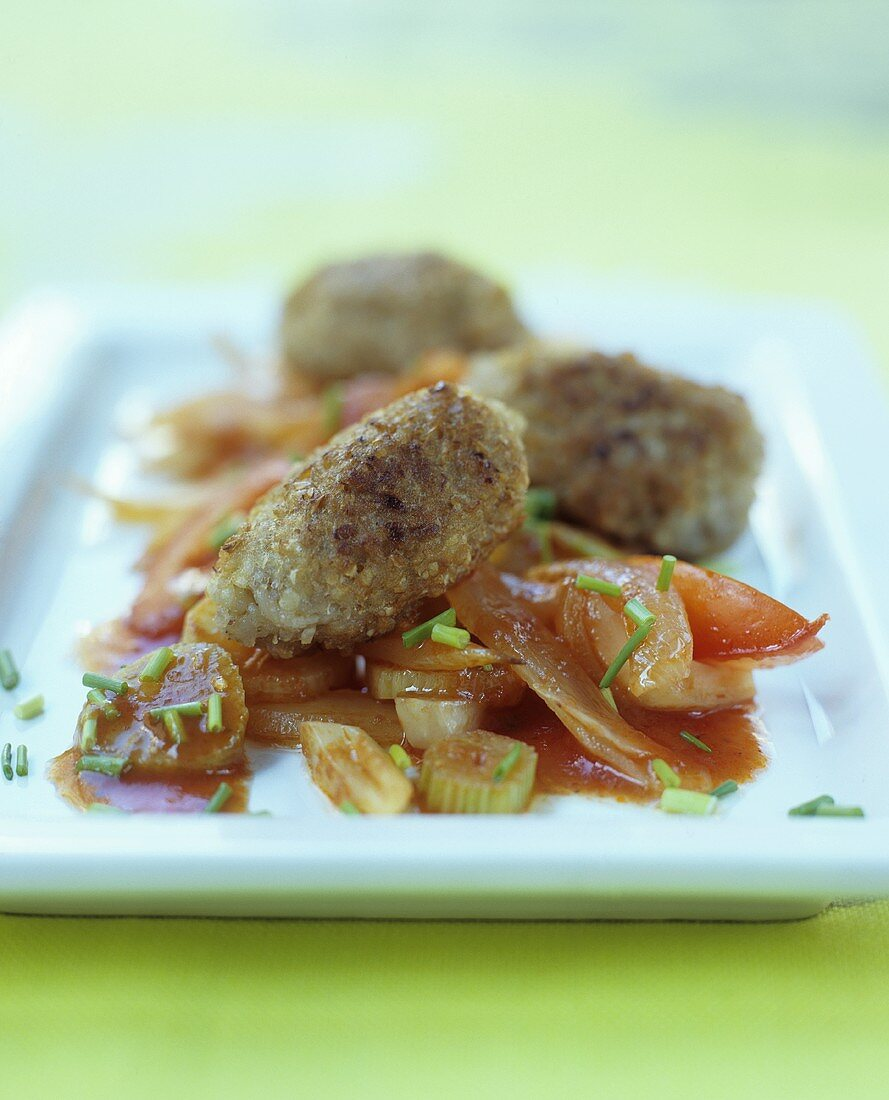 Buckwheat dumplings with tomatoes and fennel