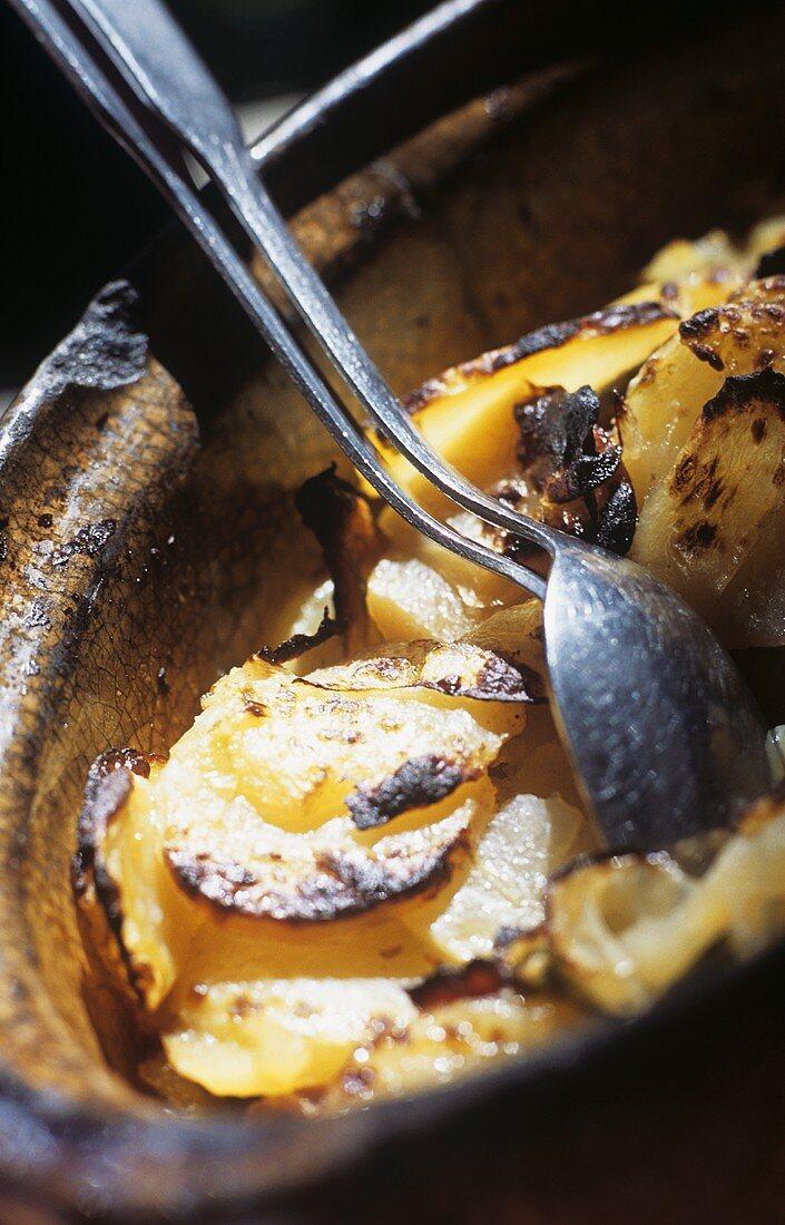 'Baeckeoffe', Alsatian speciality in a baking dish