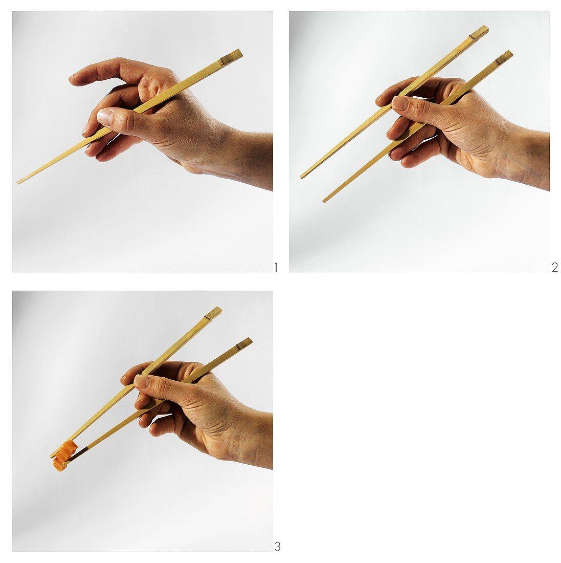 Instructions for using chopsticks