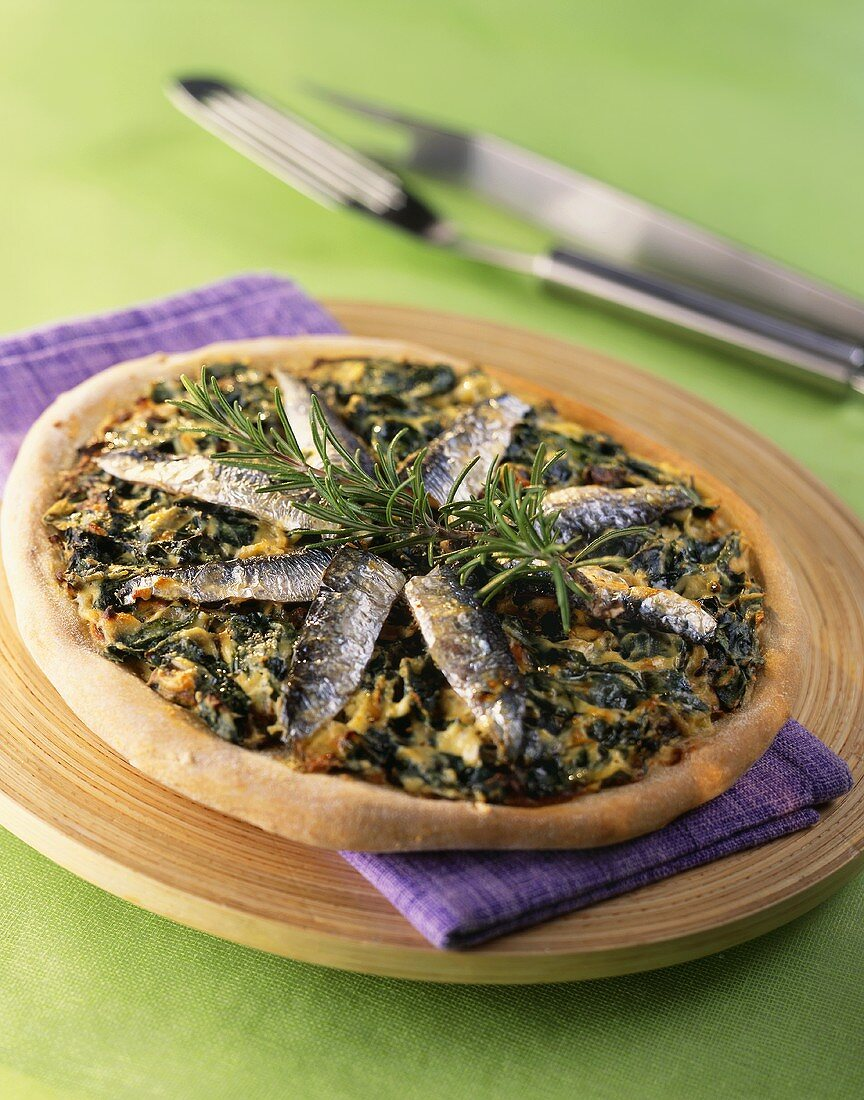 Chard and sardine pizza