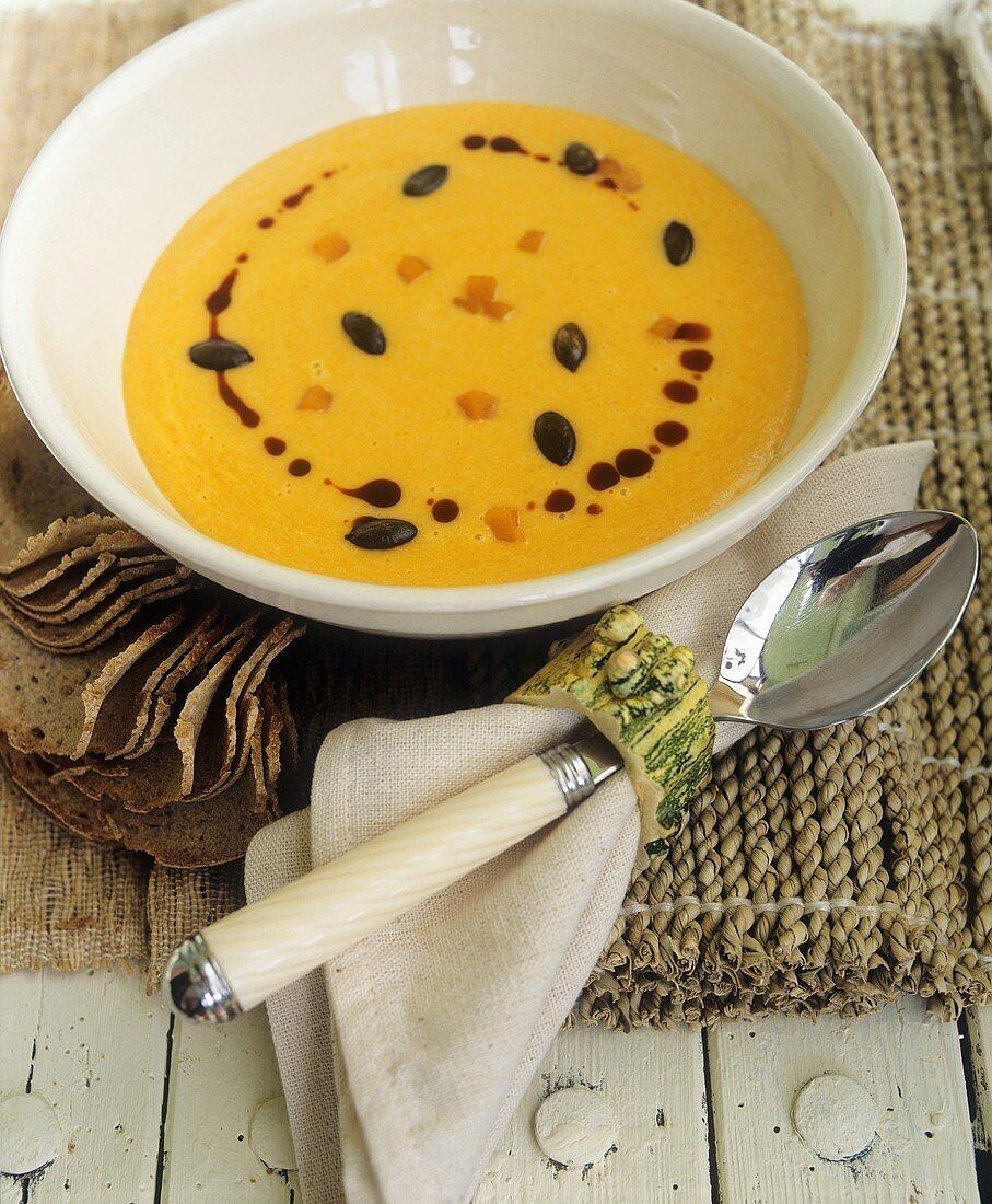 Squash soup and napkin with squash napkin ring