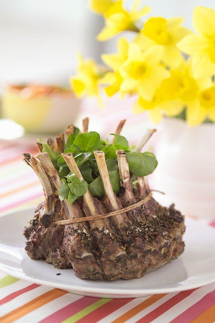 Rack of lamb with watercress
