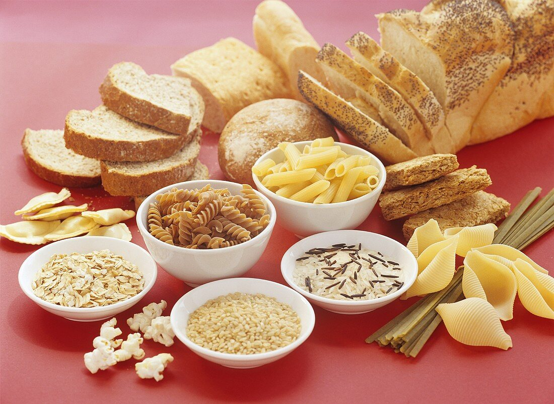 Various foods in the carbohydrate group