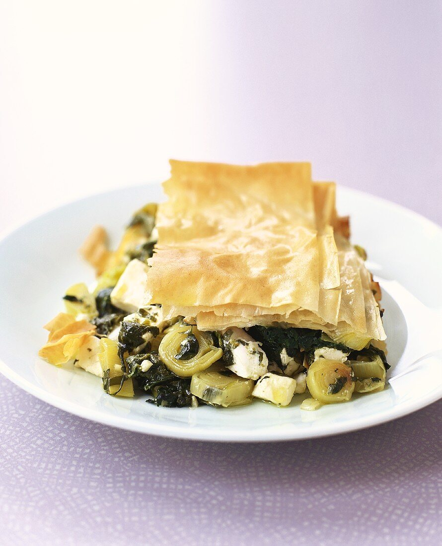 Spinach and feta pie with filo pastry