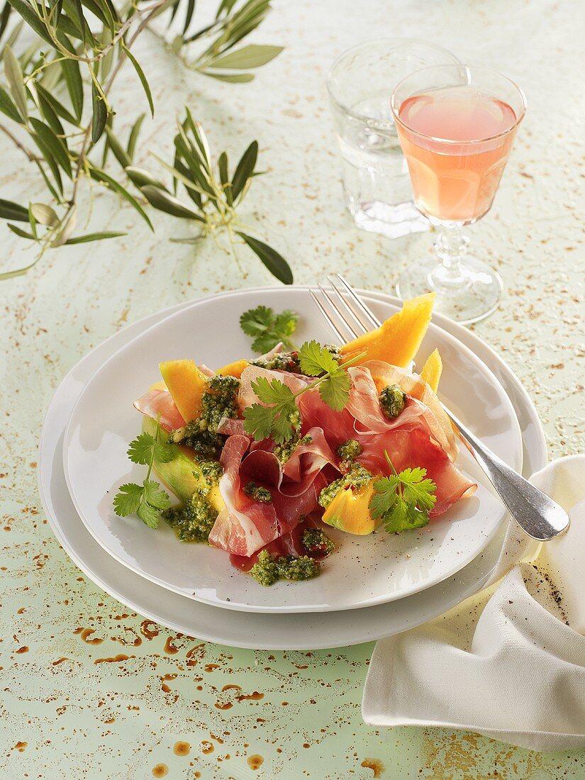 Ham and melon with coriander pesto