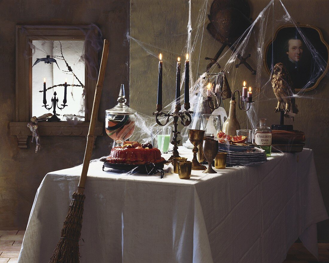 Table laid for witch's party