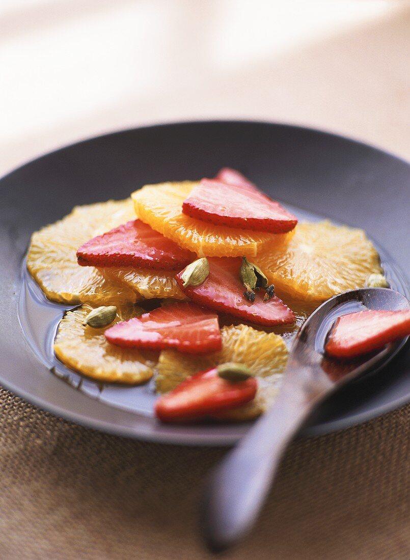 Strawberry and orange carpaccio