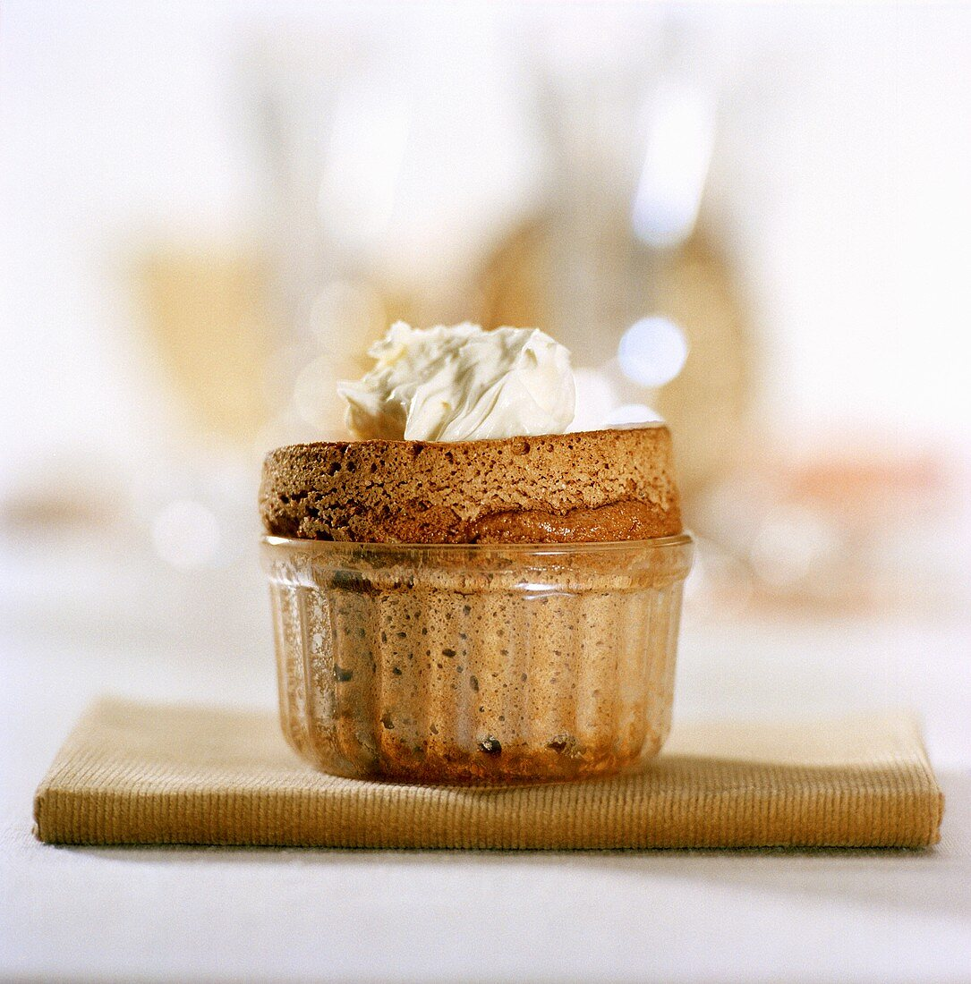Chocolate soufflé with soft cheese and honey