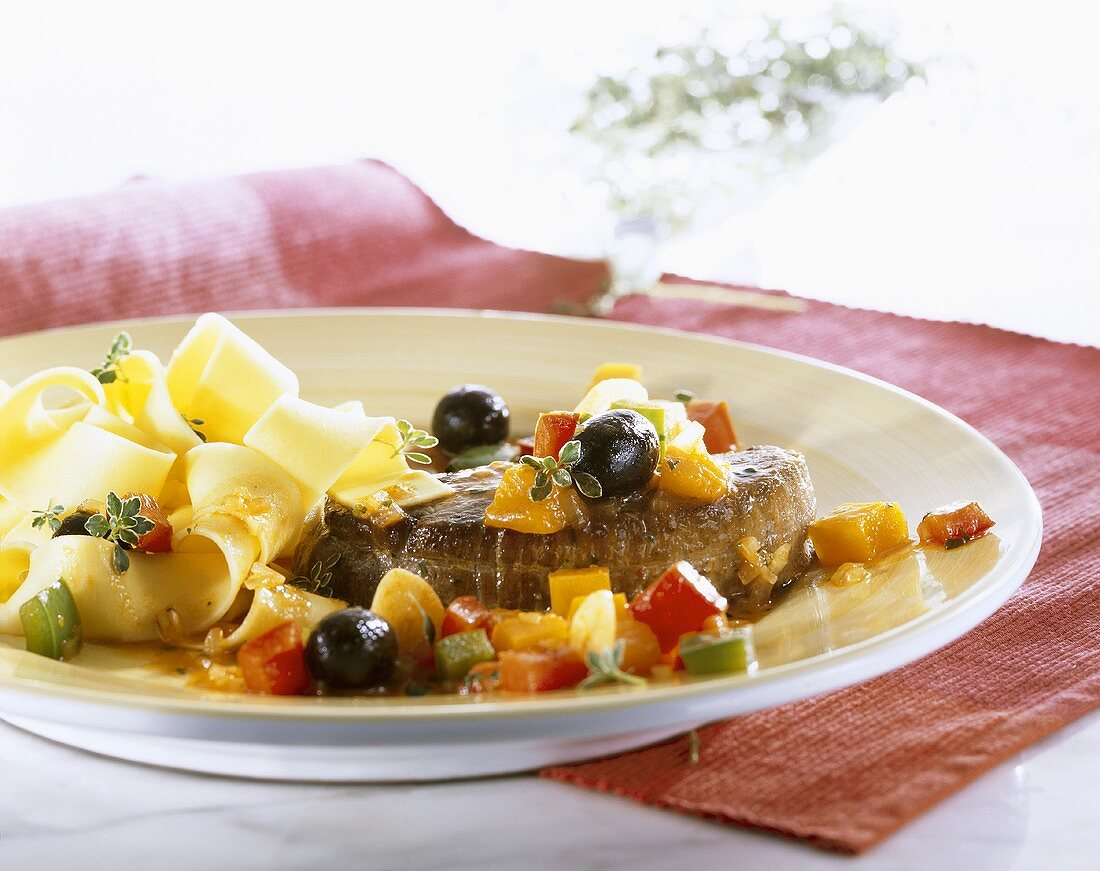 Ostrich steak with pumpkin and ribbon pasta