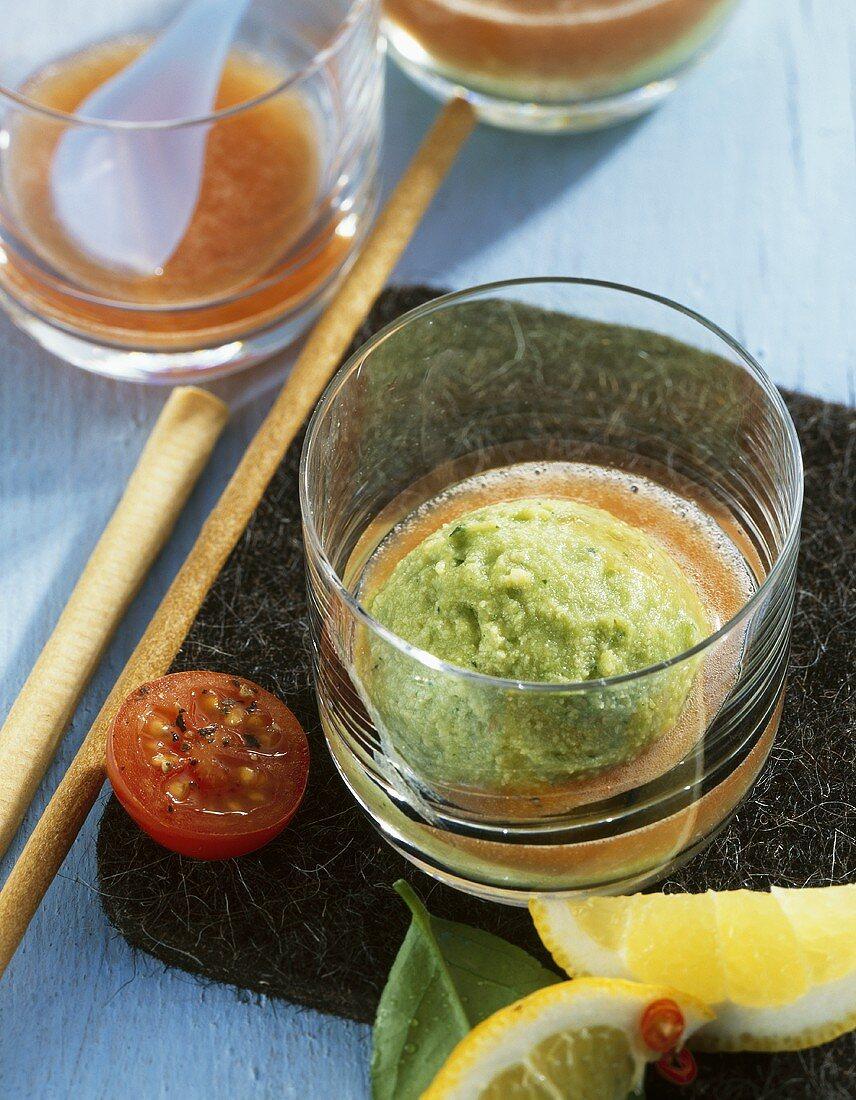 Avocado ice cream with fresh tomato juice