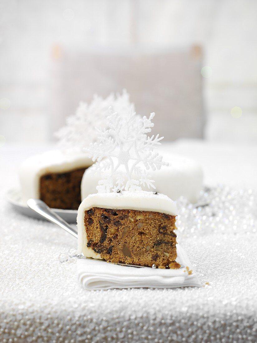A piece of English Christmas cake