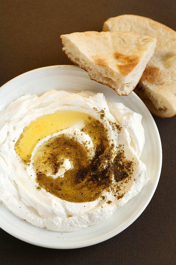 Labaneh (yoghurt cheese, Israel and Arabia) with flatbread