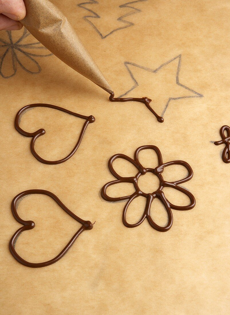 Making chocolate decoration from couverture