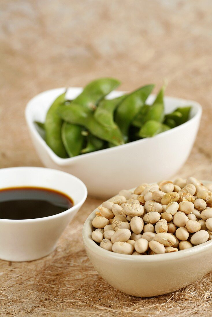 Soya beans, soya bean pods and soy sauce