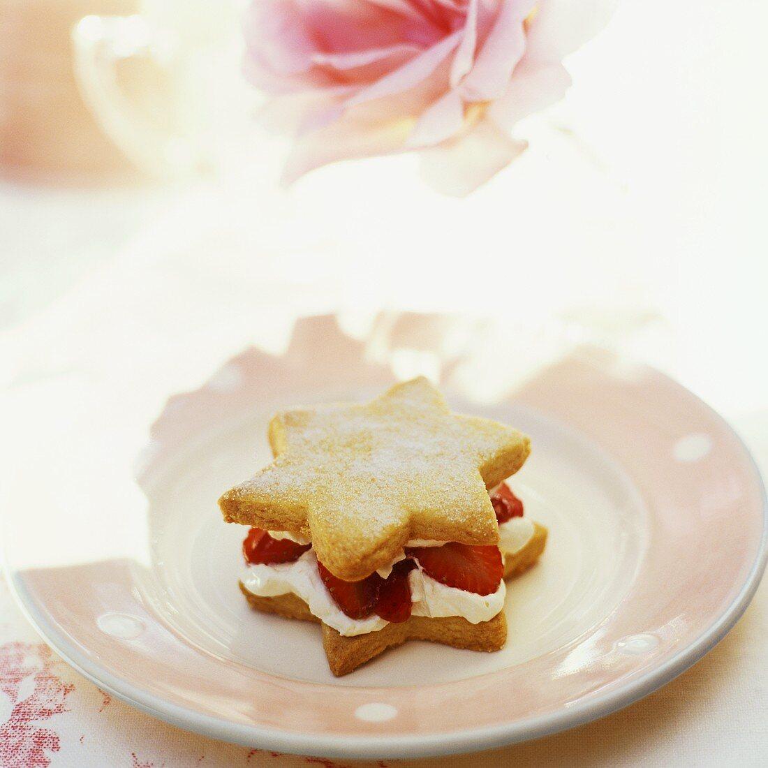 Individual star-shaped strawberry shortcake