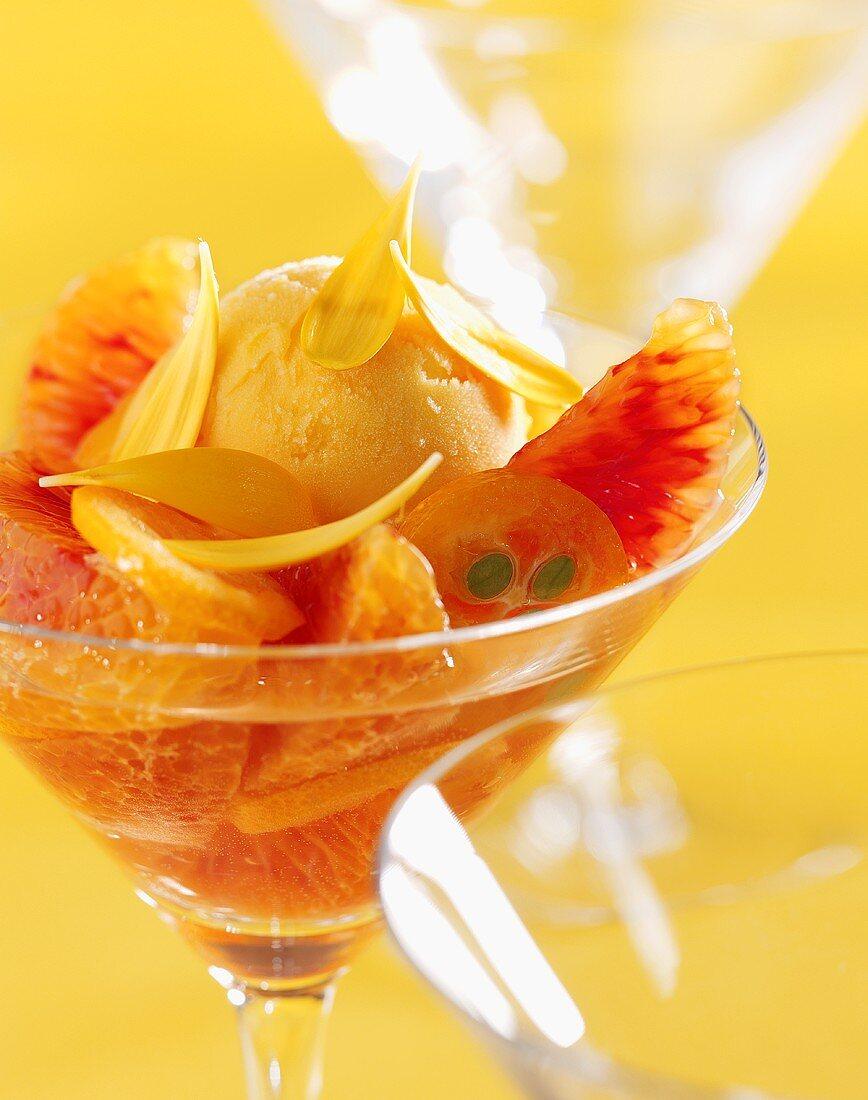 Apricot ice cream sundae with marigold syrup