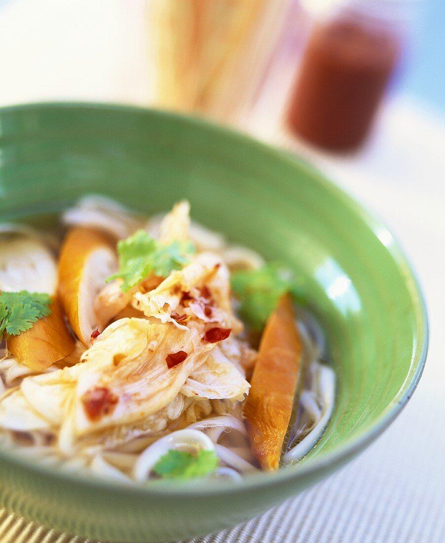 Spicy noodle stew with Schillerlocken & Chinese cabbage